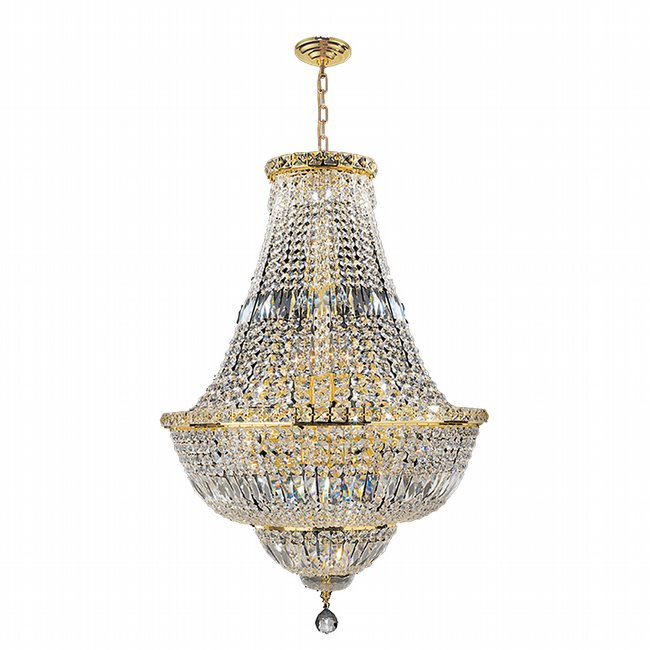 W83032G22 Empire 15 light Gold Finish with Clear Crystal Chandelier
