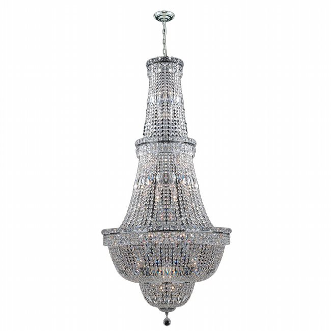 W83033C28 Empire 34 light Chrome Finish with Clear Crystal Chandelier