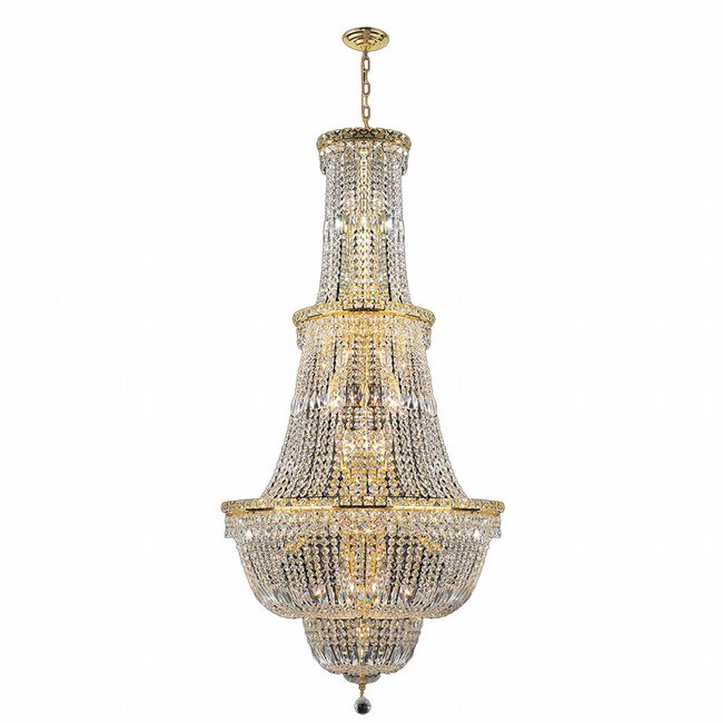 W83033G28 Empire 34 Light Gold Finish and Clear Crystal Chandelier