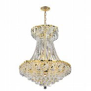 W83034G22 Empire 11 Light Gold Finish and Clear Crystal Chandelier