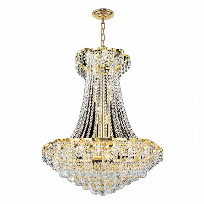 W83034G26 Empire 15 Light Gold Finish and Clear Crystal Chandelier
