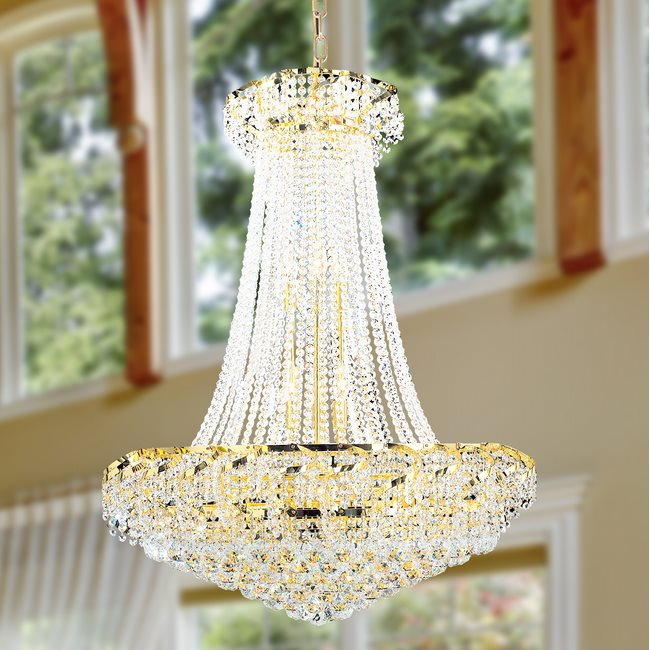 W83034G30 Empire 18 Light Gold Finish and Clear Crystal Chandelier