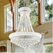 W83035C24 Empire 14 Light Chrome Finish and Clear Crystal Chandelier