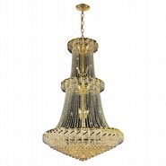 Empire Collection 32 Light Gold Finish and Clear Crystal Chandelier Two 2 Tier