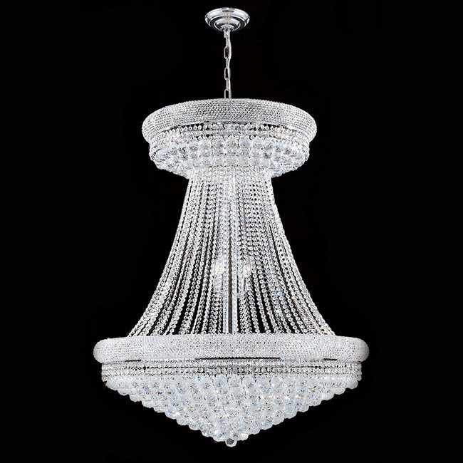 W83037c36 empire 28 light chrome finish and clear crystal chandelier mozeypictures Choice Image