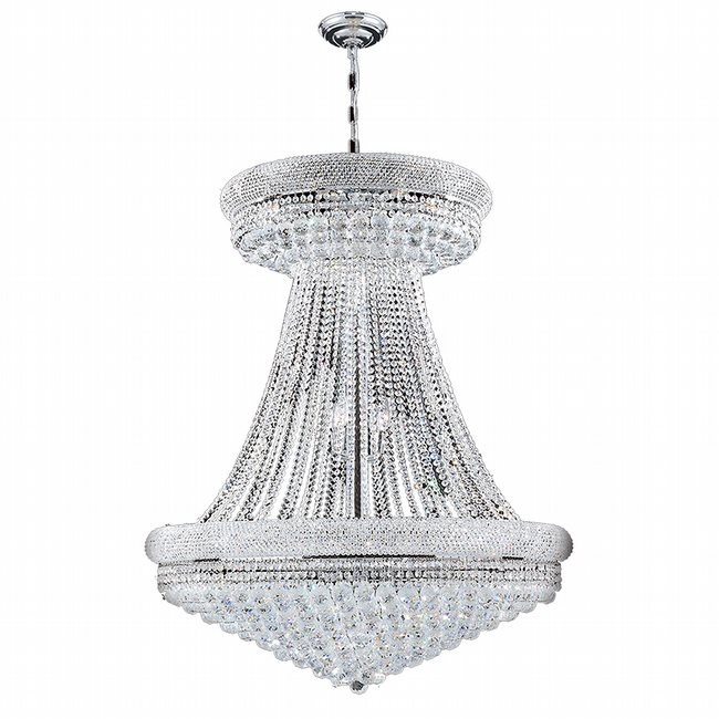 W83037C36 Empire 28 Light Chrome Finish and Clear Crystal Chandelier