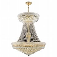 W83037G36 Empire 28 Light Gold Finish and Clear Crystal Chandelier