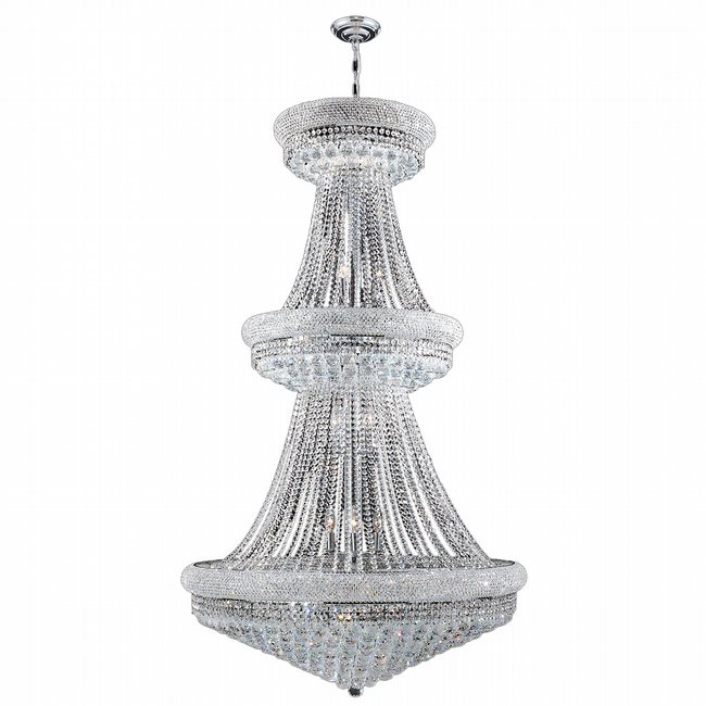 W83038C36 Empire 32 Light Chrome Finish and Clear Crystal Chandelier