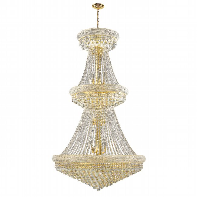 W83038G36 Empire 32 Light Gold Finish and Clear Crystal Chandelier Two 2 Tier