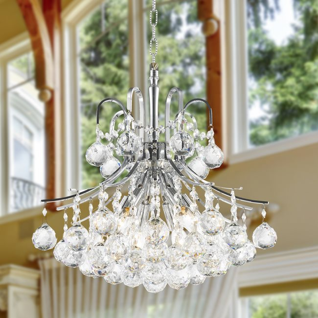W83039C16 Empire 6 light Chrome Finish with Clear Crystal Chandelier
