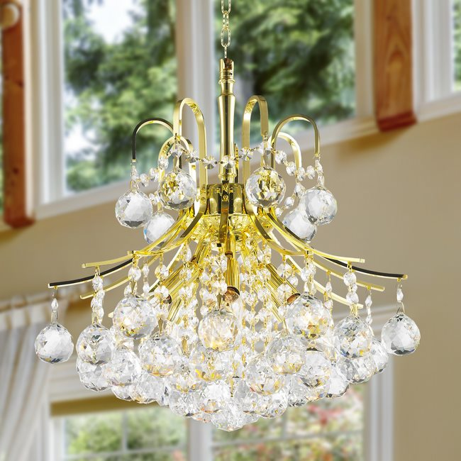 W83039G16 Empire 6 Light Gold Finish and Clear Crystal Mini Chandelier