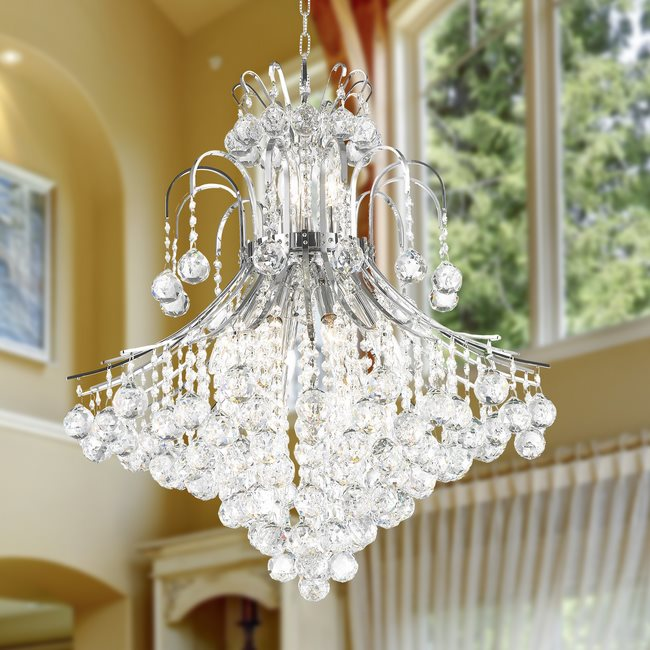 W83040C25 Empire 15 Light Chrome Finish and Clear Crystal Chandelier