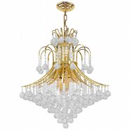 Empire Collection 15 Light Gold Finish and Clear Crystal Chandelier
