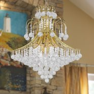 W83040G25 Empire 15 Light Gold Finish and Clear Crystal Chandelier