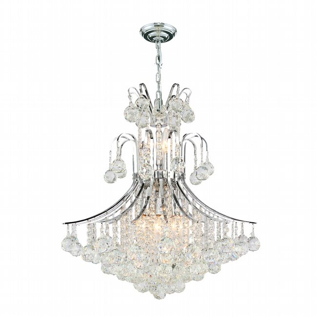 W83041C22 Empire 11 Light Chrome Finish and Clear Crystal Chandelier