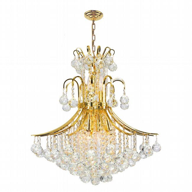 W83041G22 Empire 11 Light Gold Finish and Clear Crystal Chandelier