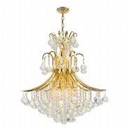 Empire Collection 11 Light Gold Finish and Clear Crystal Chandelier
