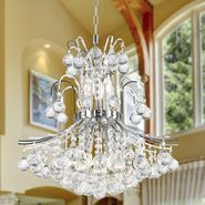 W83043C19 Empire 9 light Chrome Finish with Clear Crystal Chandelier