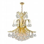 W83043G19 Empire 9 Light Gold Finish and Clear Crystal Chandelier