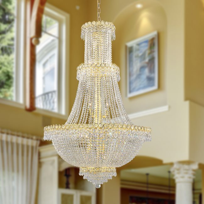 W83047G30 Empire 17 Light Gold Finish and Clear Crystal Chandelier