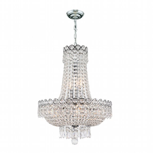 W83049C16 Empire 8 Light Chrome Finish and Clear Crystal Mini Chandelier