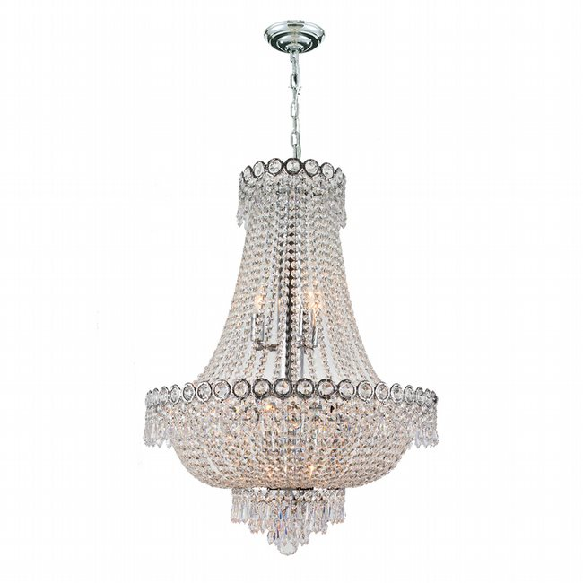 W83049C20 Empire 12 Light Chrome Finish and Clear Crystal Chandelier