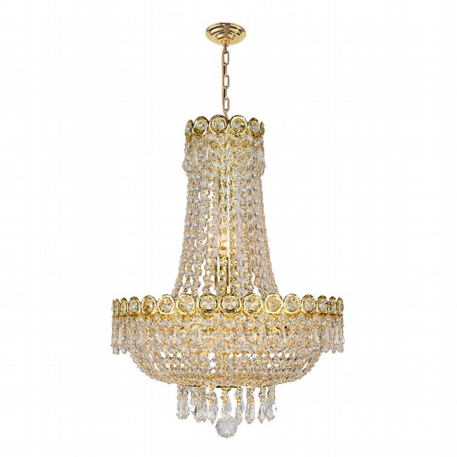 W83049G16 Empire 8 light Gold Finish with Clear Crystal Chandelier