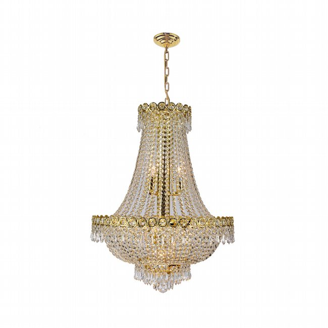 W83049G20 Empire 12 Light Gold Finish and Clear Crystal Chandelier