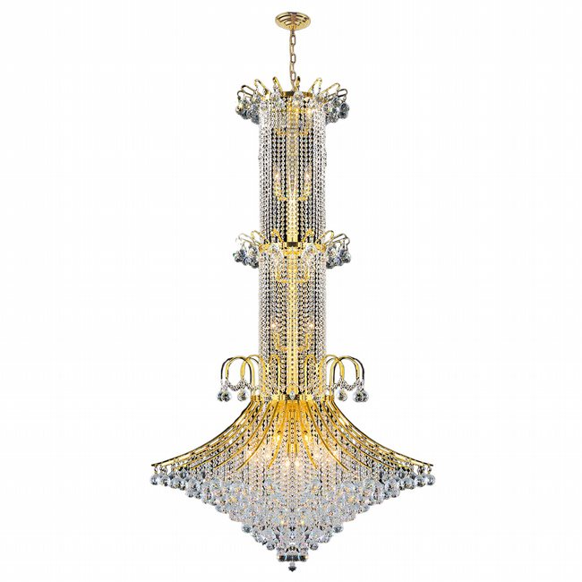 W83050G44 Empire 20 Light Gold Finish and Clear Crystal Chandelier