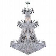 W83052C32 Empire 18 Light Chrome Finish and Clear Crystal Chandelier