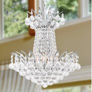 W83053C16 Empire 4 light Chrome Finish with Clear Crystal Chandelier