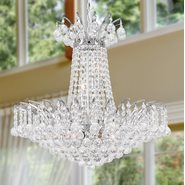 W83053C19 Empire 8 Light Chrome Finish and Clear Crystal Chandelier