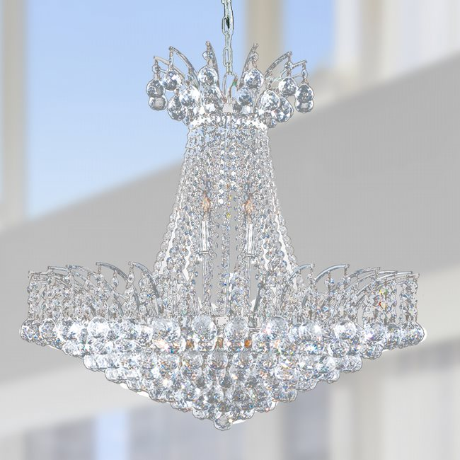 W83053C24 Empire 11 Light Chrome Finish and Clear Crystal Chandelier