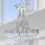 W83053C29 Empire 16 Light Chrome Finish and Clear Crystal Chandelier