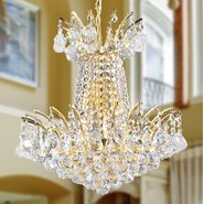 W83053G16 Empire 4 Light Gold Finish and Clear Crystal Chandelier