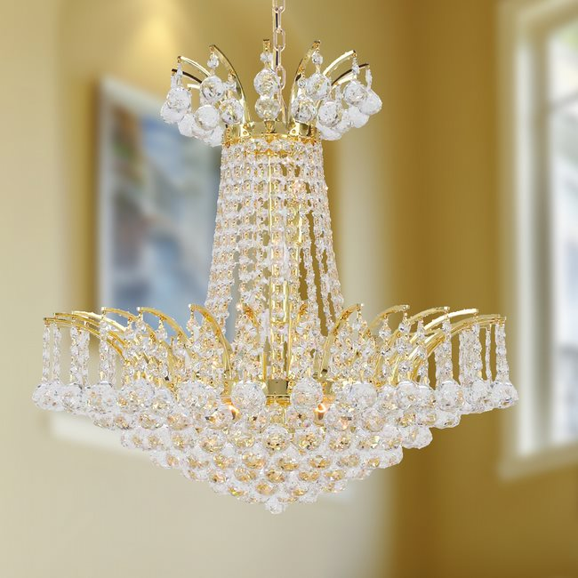W83053G19 Empire 8 Light Gold Finish and Clear Crystal Chandelier