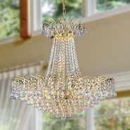 W83053G24 Empire 11 Light Gold Finish and Clear Crystal Chandelier