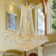 W83053G29 Empire 16 Light Gold Finish and Clear Crystal Chandelier