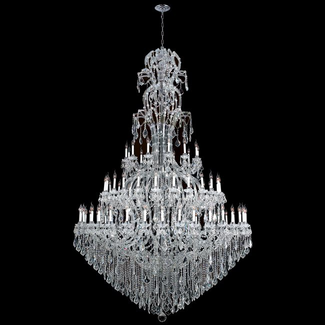 W83067C78 Maria Theresa 72 light Chrome Finish with Clear Crystal Chandelier Three 3 Tier