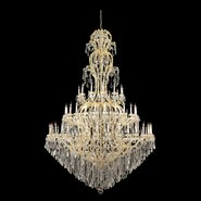 W83067G78 Maria Theresa 72 light Gold Finish with Clear Crystal Chandelier Three 3 Tier