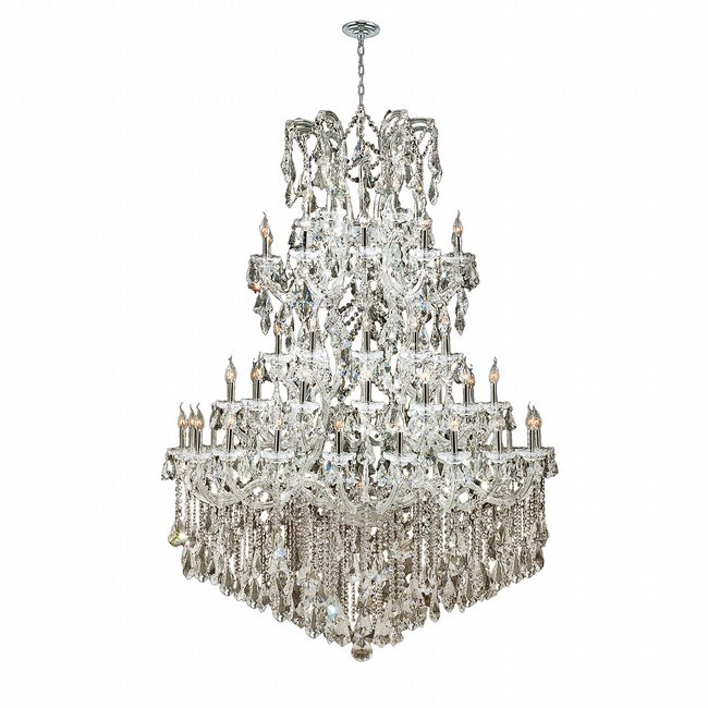 W83068C54-GT Maria Theresa 61 light Chrome Finish with Double Cut Golden Teak Crystal Chandelier