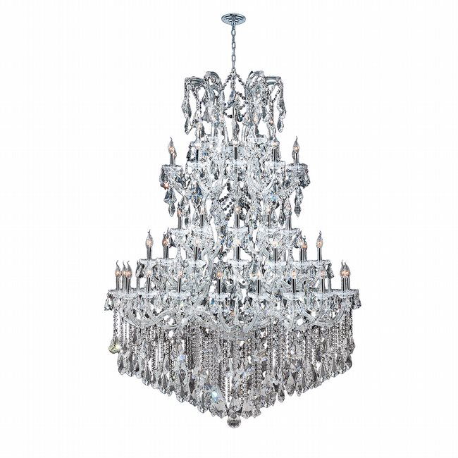W83068C54 Maria Theresa 61 light Chrome Finish with Double Cut Clear Crystal Chandelier
