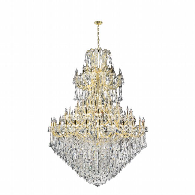 W83069G72 Maria Theresa 84 Light Gold Finish and Clear Crystal Chandelier Five 5 Tier