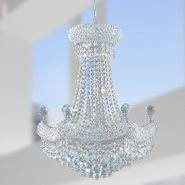 W83074C20 Empire 12 Light Chrome Finish and Clear Crystal Chandelier