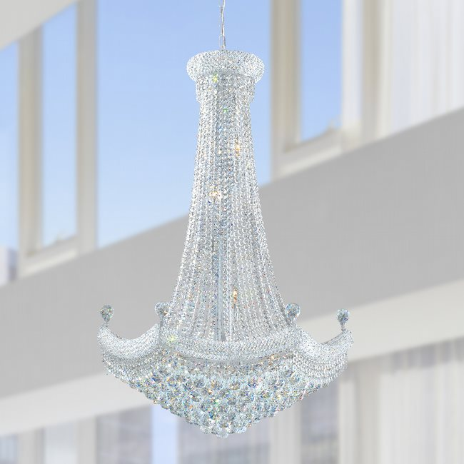 W83074C30 Empire 18 light Chrome Finish with Clear Crystal Chandelier