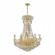 Empire Collection 12 Light Gold Finish and Clear Crystal Chandelier