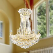 W83074G20 Empire 12 Light Gold Finish and Clear Crystal Chandelier