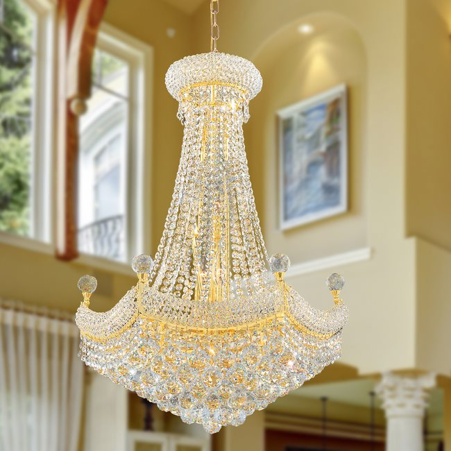 W83074G24 Empire 15 Light Gold Finish with Clear Crystal Chandelier