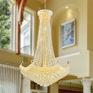 W83074G30 Empire 18 Light Gold Finish and Clear Crystal Chandelier