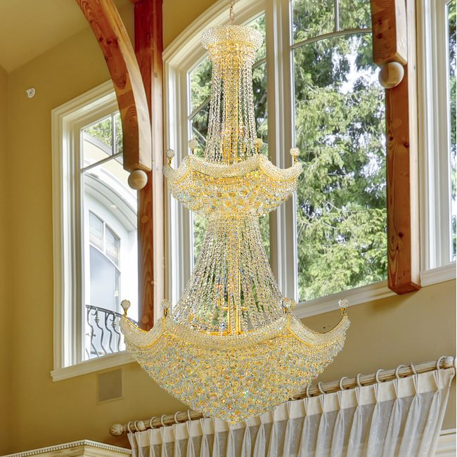 W83074G36 Empire 32 Light Gold Finish and Clear Crystal Chandelier Two 2 Tier